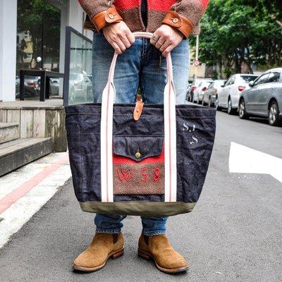 日本匠人手造 Sturdy Luggage Supply 瑞士軍毯拼接單寧托特包