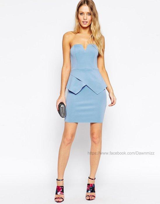 現貨 英國性感平口深V露肩露背美胸合身洋裝藍 窄裙洋裝 歐美洋裝 伴娘服店長實拍 韓國空運歐美代購 米絲小姐玩時妝