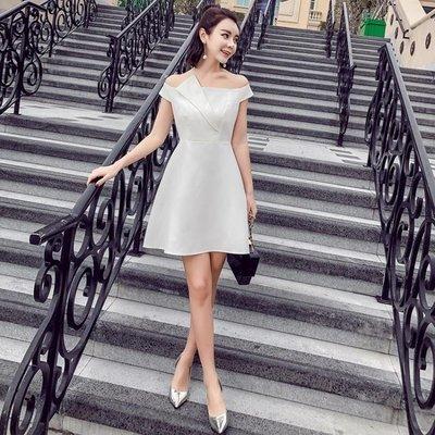 洋裝 小禮服 氣質女裝名媛氣質露肩一字肩小禮服修身性感連身裙