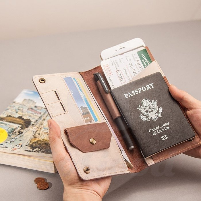 證件包護照夾隨身包 軟頭牛皮簡約卡片包 旅行真皮男女錢包_☆SoGoods優購好☆