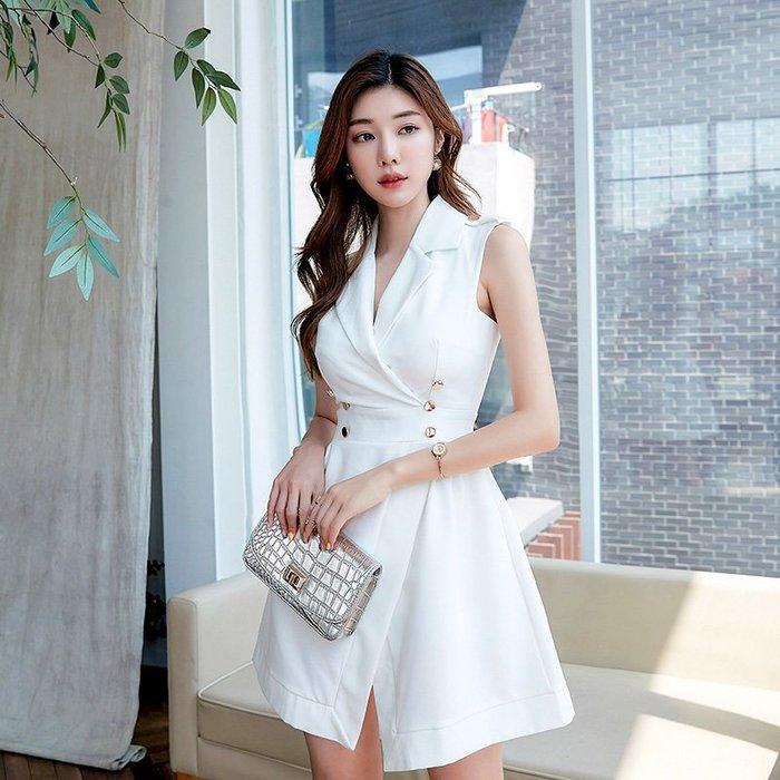 ☆噹噹小舖☆韓版時尚西裝領無袖雙排釦收腰A字洋裝