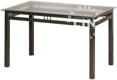 【品特優家具倉儲】A926-12餐桌洽談桌602烤黑玻璃餐桌