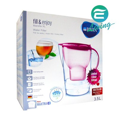 【易油網】BRITA MARELLA XL 3.5L 濾水壺+濾心1個 粉紅 比Costco便宜 #82833