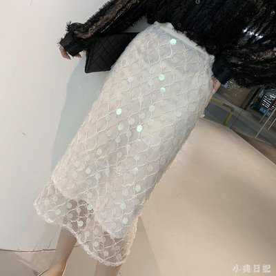 新款韓版高腰中長款過膝亮片網紗半身裙女chic包臀一步裙 mj14754『優尚匯』