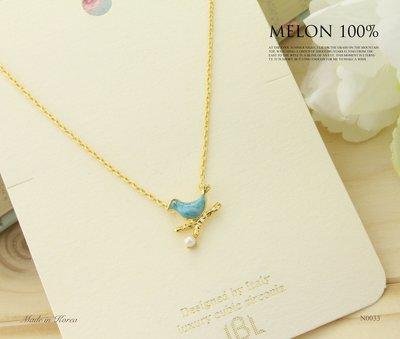 【MELON 100%】正韓 · JBL 幸運之鳥 天然石枝頭小鳥鎖骨項鍊 N0033