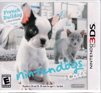 3DS美規專用遊戲 任天狗 + 貓與法國鬥牛犬和新朋友 Nintendogs + cats 美版【板橋魔力】