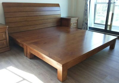 【南台灣傢俱】3.5尺100%全實木檜木雙人床架.床台(不含床頭片)***特價$6500元