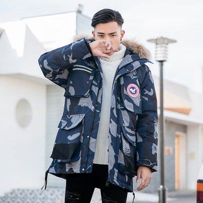 羽絨 外套 連帽夾克-貉子大毛領純色防風男外套3色73un10[獨家進口][米蘭精品]