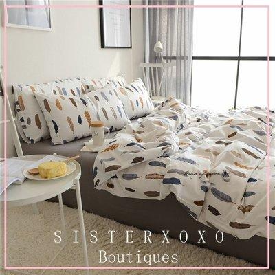 Sisterxoxo [1.2M] 北歐簡約風格彩色羽毛棉質舒適寢具 床單三件組 大學宿舍 民宿床單 新婚房專用床單