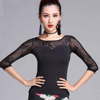 春季蕾絲拉丁舞表演服上裝成人女短袖露肩黑色練功國標舞 -單賣上衣