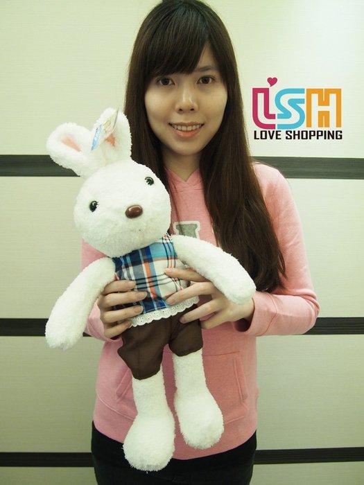 【愛購樂】 歡樂兔 50CM 格紋藍 玩偶 娃娃 抱枕 法國兔