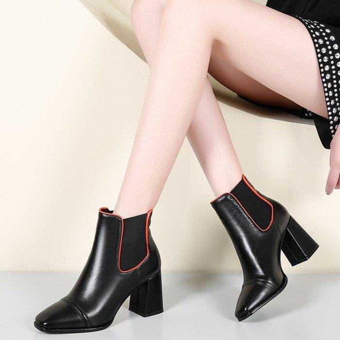 『Alice❤愛麗絲』秋冬季新款牛皮短靴女粗跟英倫短筒靴子真皮高跟鞋馬丁靴米白