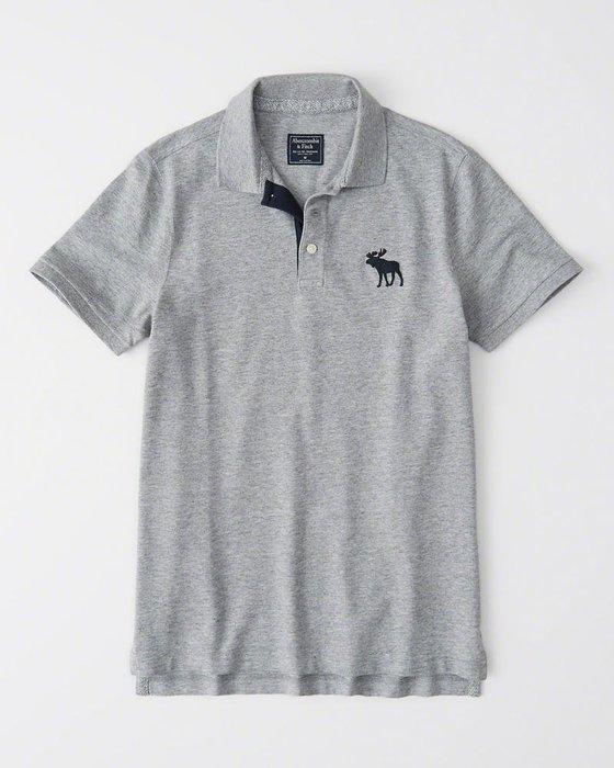 Maple麋鹿小舖 Abercrombie&Fitch * AF 灰色電繡大麋鹿POLO衫*( 現貨S/M號 )