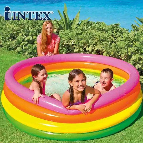 最新款INTEX 56441螢光彩色四環泳池~四層氣墊球池游泳池/球池 168x46公分◎童心玩具1館◎