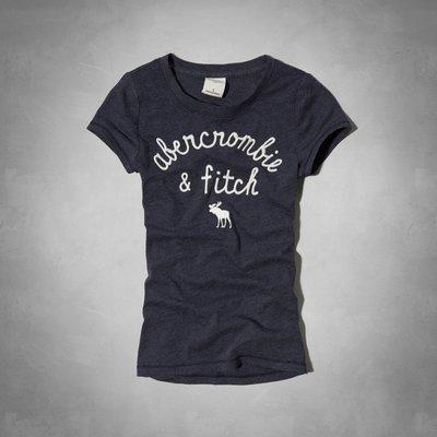 Maple麋鹿小舖 abercrombie&fitch * a&f 女童款深藍色電繡麋鹿短T*( 現貨L號 )