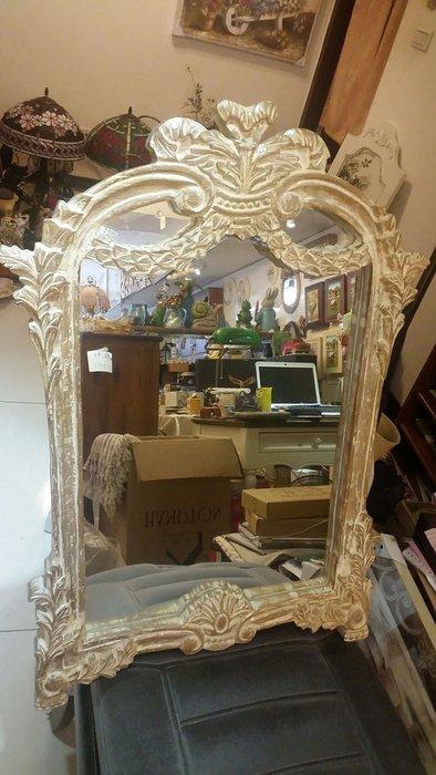 印度雕花鏡維多利亞風雕花實木玄關鏡 壁鏡 掛鏡