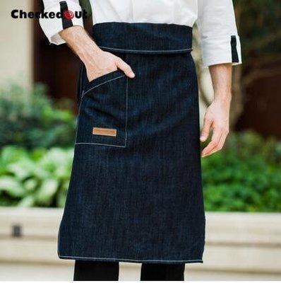 【優上】牛仔圍裙咖啡店奶茶店廚房做飯服務員工作圍裙韓版