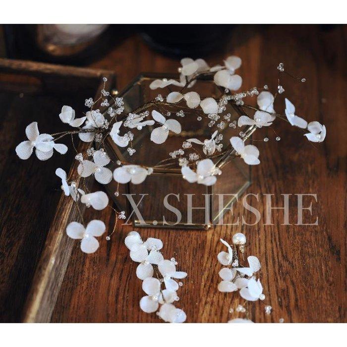 Golicc 新款正韓仙氣唯美手工精致白色花朵新娘頭飾耳環婚紗禮服結婚配飾