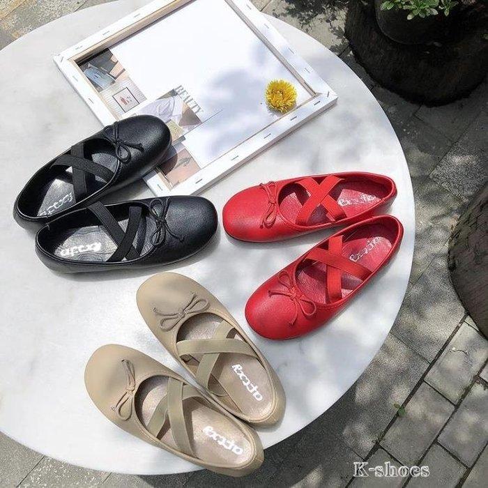 蝴蝶結娃娃鞋女交叉鬆緊帶芭蕾舞平底鞋百搭淺口奶奶鞋單鞋