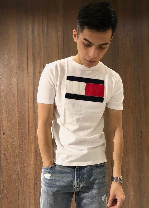 美國百分百【Tommy Hilfiger】T恤 TH 男 圓領 T-shirt 短袖 短T 大logo 白色 H986