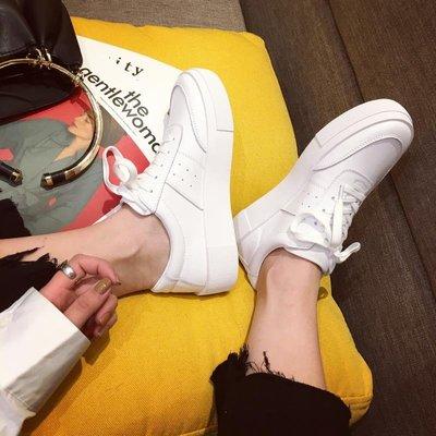Ekool正韓鞋包~ 春季新款休閑鞋女單鞋牛皮系帶學生鞋女鞋厚底小白鞋板鞋平底鞋