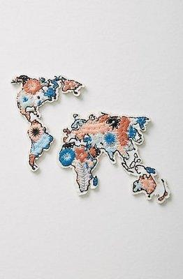 美國Anthorpologie官網購入 設計感專屬圖騰 獨特個人標籤刺繡貼紙 世界版圖款 現貨
