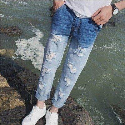 衣林魔力屋【磨破抽鬚造型】漸層刷色九分褲/牛仔褲/破壞褲