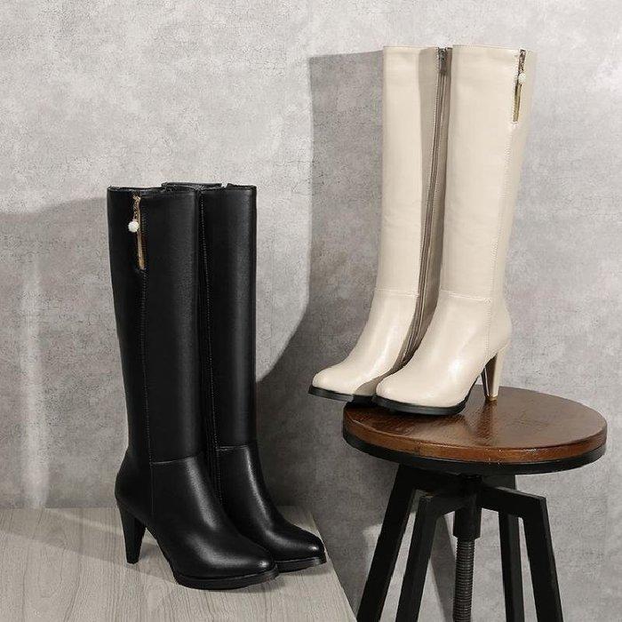 【星居客】精美女鞋大小碼女鞋  粗高跟側拉鏈春秋款騎士靴高筒及膝長靴40-45大碼女靴大筒圍定做S932
