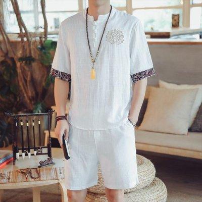 中國風男裝 短袖T恤 襯衫襯衣 唐裝大尺碼 胖子寬鬆上衣夏季潮