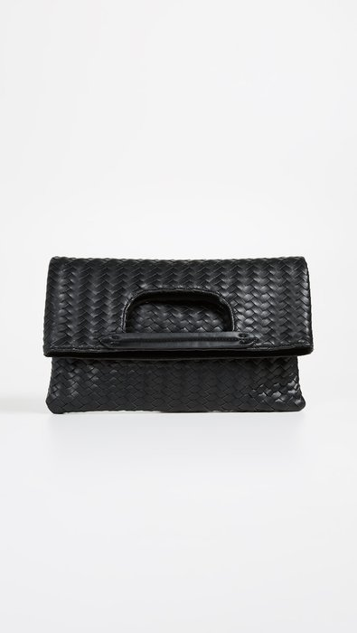 ◎美國代買◎Deux Lux皮編皮紋設計反摺手提帶包型設計英倫時尚街風手提環反摺皮編手拿包~歐美時尚~