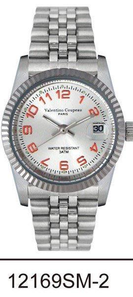 (六四三精品)Valentino coupeau(真品)(全不銹鋼)精準男錶(附保証卡)12169SM-2