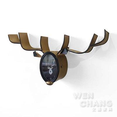 北歐鹿頭置物架時鐘壁掛 裝飾品 Z157 *文昌家具*