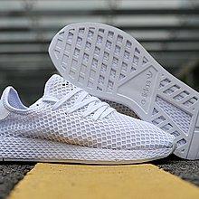 D-BOX  Adidas Deerupt Runner 運動鞋 百搭 網狀 全白 慢跑鞋 男女款