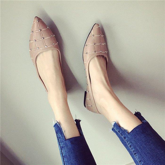 小尺碼女跟鞋正韓女鞋增高女鞋歐美潮春秋平底鞋女尖頭軟底淺口平跟女單鞋時尚鉚釘黑色女鞋