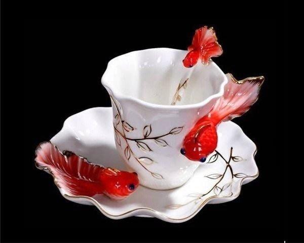 5Cgo【鴿樓】琺琅瓷 9772545910 金魚杯 杯 盤 匙 下午茶杯組 陶瓷手工彩繪 法蘭 貴婦 小資
