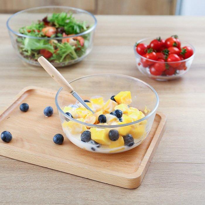 透明玻璃碗沙拉碗家用餐具湯碗創意甜品碗耐熱大碗泡面碗水果盤子