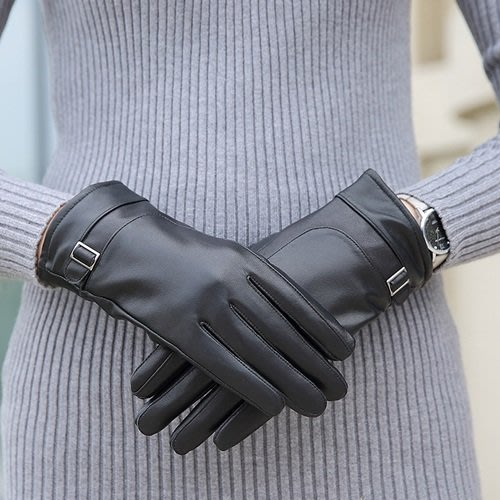 真皮手套 保暖手套-羊皮加絨加厚搭扣女手套73wm70[獨家進口][米蘭精品]