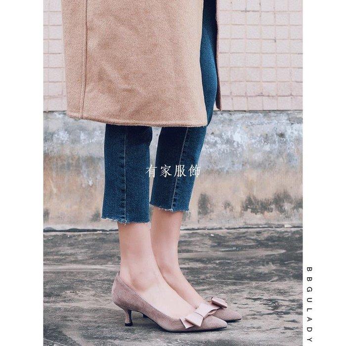 有家服飾初心不忘BB古減肥高跟鞋 2019新款職業蝴蝶結真皮細跟尖頭單鞋女