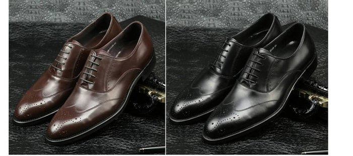 爵式英倫牛皮商務正裝皮鞋尖頭系帶男士皮鞋復古雕花布洛克鞋潮