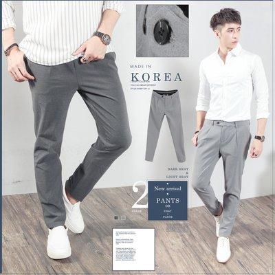 。SW。【K32135】 正韓K.V 韓國製 修身 觸感佳 彈性西裝布 窄版 雅痞紳士 灰色系 西裝褲 英倫 GD