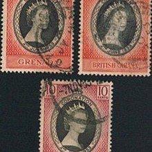 [亞瑟小舖]英屬馬來亞英女王加冕典禮實寄票3枚,中品!!!(1953年)