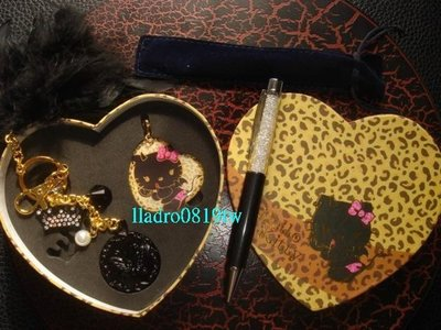 Hello Kitty 飾品造型悠遊卡(惡魔)+施華洛世奇水晶筆 粗桿(金鑽黑)共2件正品(另天使3D)