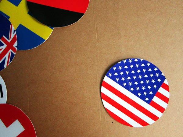 【國旗貼紙專賣店】美國旗圓形行李箱貼紙/抗UV防水/USA/多國款可收集和客製