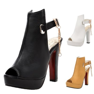 包郵 女涼鞋 高跟鞋 涼靴 黑/啡/白色 外貿涼鞋 VANCY 男 女鞋 粗跟鍊防水台 魚嘴 peep toe 大碼 涼鞋 靴 34-50碼 SH65#