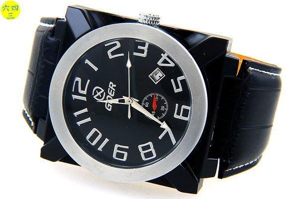 (六四三精品)GQER(真品)超大方型錶徑..黑色烤漆錶殼....自動上鍊機械錶!