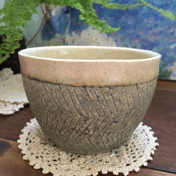 全新!日本作家 咖啡杯 茶杯 陶杯 (灰藍綠色)