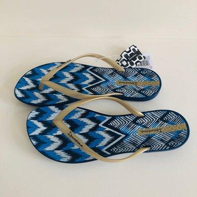 《現貨》Ipanema 女生 拖鞋 巴西尺寸33/34,35(舒適鞋底 幾何塗鴉 人字夾腳平底拖鞋-藍/金帶)