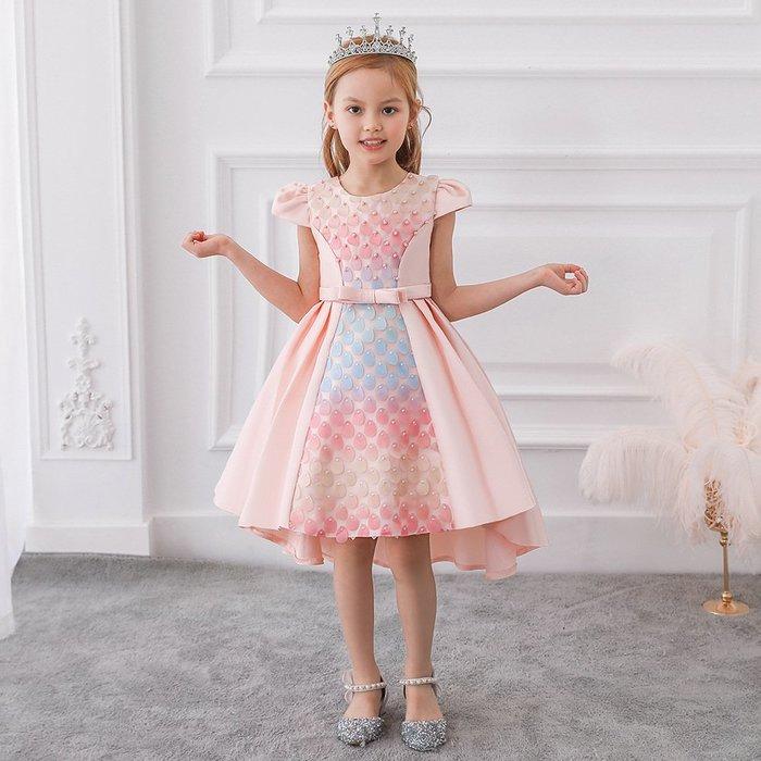 •*~ 辣媽咪衣飾小舖 ~*•❤童裝系列❤K970509韓版大童夏款甜美清新時尚蓬蓬蕾絲亮片可愛公主禮服公主洋裝