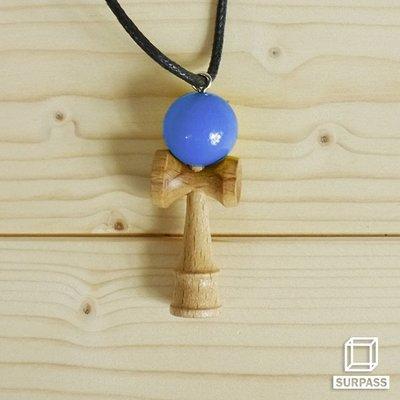 『Surpass』木質劍玉皮繩項鍊 藍色
