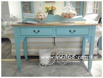 歐維斯永利家具***鄉村風雙色藍二抽桌...